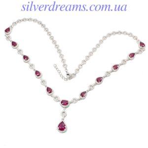 Серебряное ожерелье с рубином