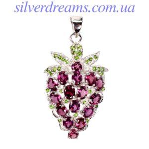 Серебряный кулон Виноград с родолитами