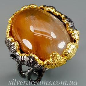 Серебряный перстень с рутиловым кварцем