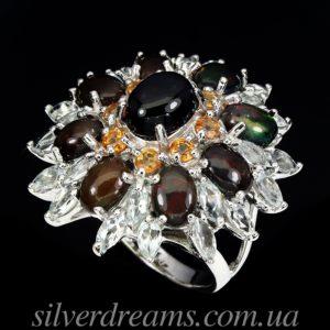 Коктейльное кольцо из серебра Радужный Опал - Аквамарин