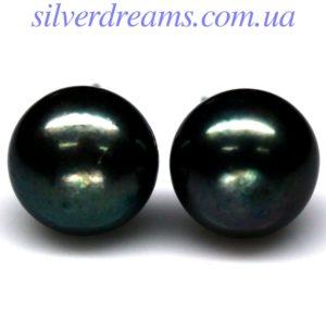 Серебряные серьги с чёрной жемчужиной