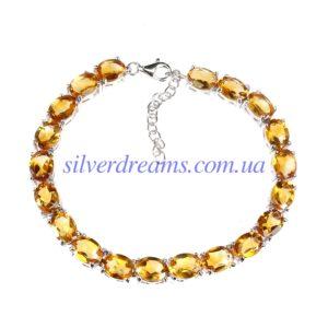 Серебряный браслет с крупным цитрином
