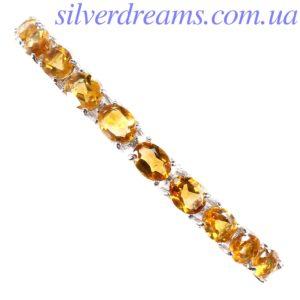 Серебряный браслет с цитринами
