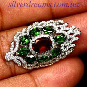 Серебряное кольцо Гранат Диопсид